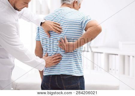 Chiropractor Examining Patient With Back Pain In Clinic