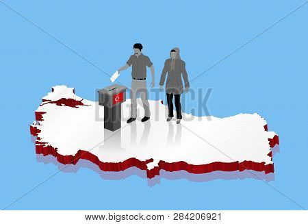 Nationalist Muslim Voters Are Voting For Turkish Election Over Turkey Map. All The Objects, Shadows