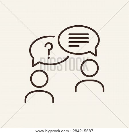 Conversation Line Icon. Two People Talking On White Background. It Support Concept. Vector Illustrat