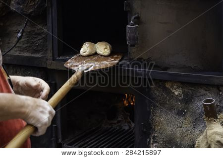 Bread In The Oven, Detail Of Old Bakery