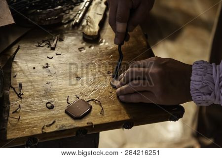 Person Working With Leather In Traditional Way, Artisan Work Detail