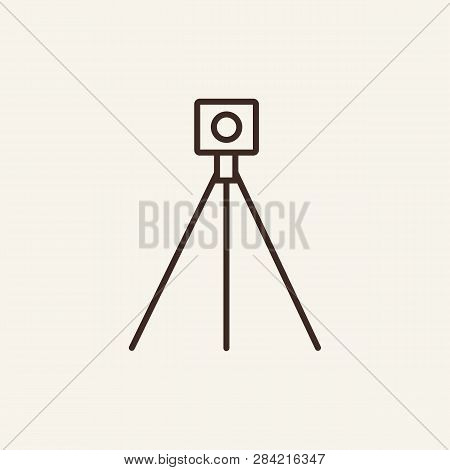 Laser Level Line Icon. Geography Equipment On White Background. Geodesy Concept. Vector Illustration