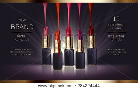 Cosmetic Realistic Vector Ads Banner With Premium Lipstick For Perfect Makeup, Decorative Cosmetics.