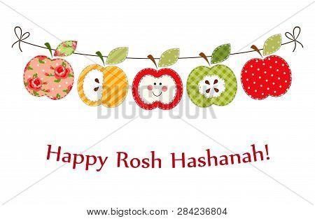 Cute Bright Apples Garland As Rosh Hashanah Jewish New Year Symbols
