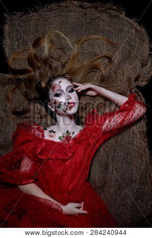 Creatyve Bodyart, Red Rose On Girl Skin In Red Dress