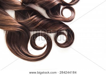 Strand Of Brunette Hair Isolated On White, Luxurious Brown Hair On White, Free Space For Text, Hair