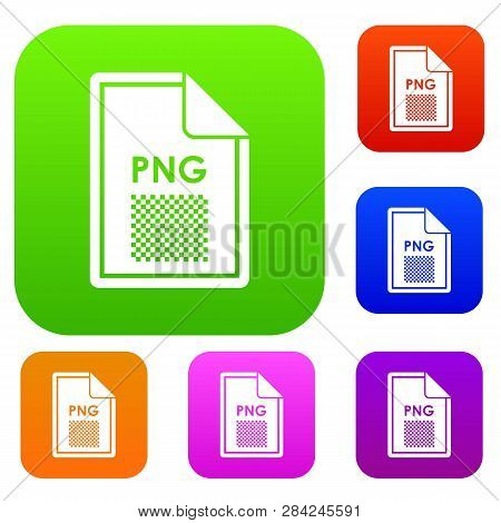 File PNG set icon in different colors isolated illustration. Premium collection poster