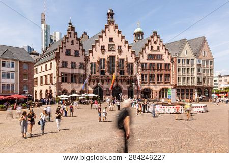 Frankfurt - Germany, Roemerberg, May 26th 2018, People Walking On Frankfurt Historic Townhall Square