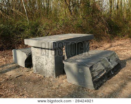 Slate picnic table
