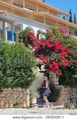 Teen Girl On Alley In Summer Lefkada, Greece