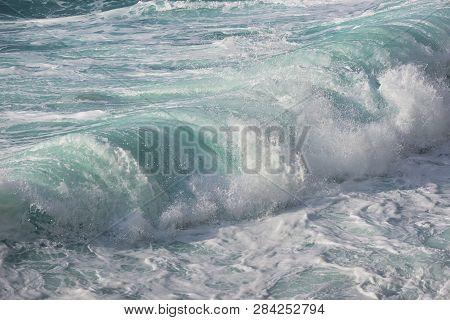 Waves In Milos Beach Lefkada, Greece, Close Up