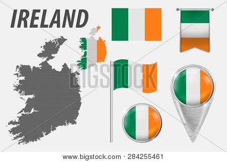 Ireland. Collection Of Symbols In Colors National Flag On Various Objects Isolated On White Backgrou