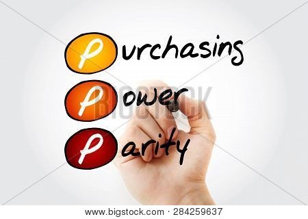 Ppp - Purchasing Power Parity Acronym With Marker, Business Concept Background