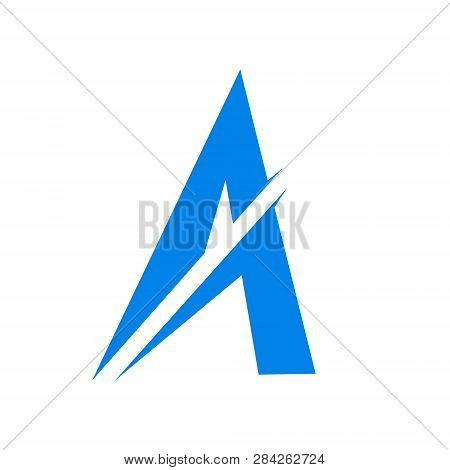 Letter A Logo Simple Vector Art. Blue Logo Art With A Sword Incision