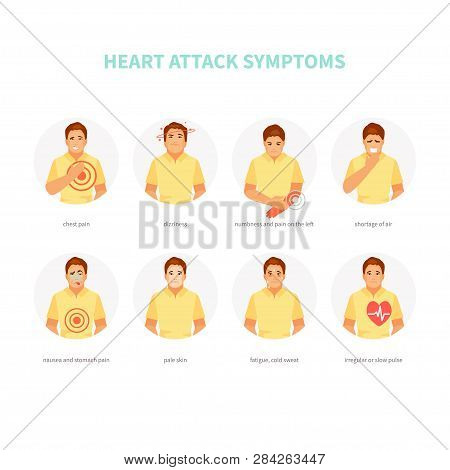 Male Character With Heart Attack Symptoms. Myocardial Infarction. Vector Medical Infographics, Poste