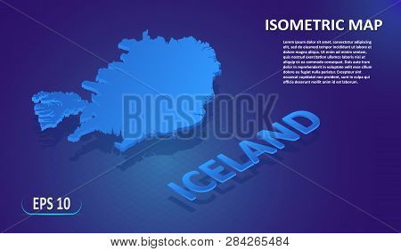 Isometric Map Of The Iceland. Stylized Flat Map Of The Country On Blue Background. Modern Isometric