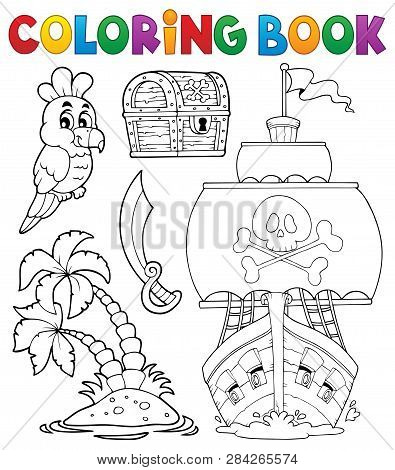 Coloring Book Pirate Thematics 2 - Eps10 Vector Picture Illustration.