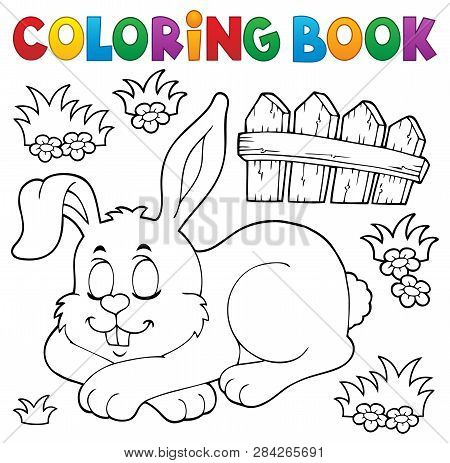 Coloring Book Sleeping Bunny Theme 1 - Eps10 Vector Picture Illustration.