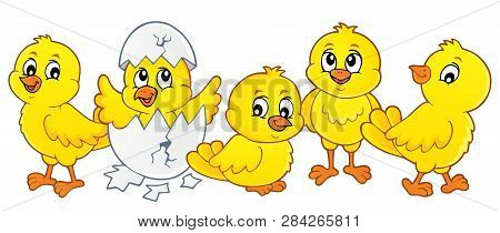 Cute Chickens Topic Image 1 - Eps10 Vector Picture Illustration.