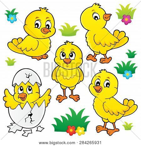 Cute Chickens Topic Set 1 - Eps10 Vector Picture Illustration.