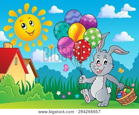 Easter Bunny With Balloons Image 3 - Eps10 Vector Picture Illustration.