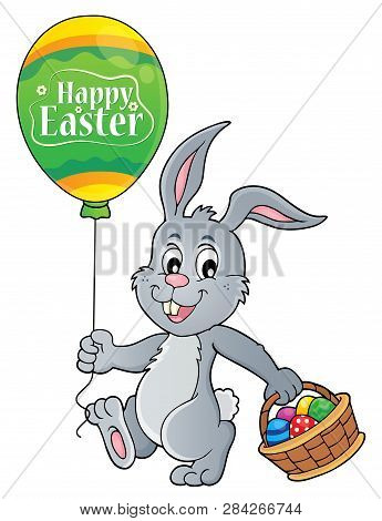 Easter Rabbit With Balloon Image 1 - Eps10 Vector Picture Illustration.