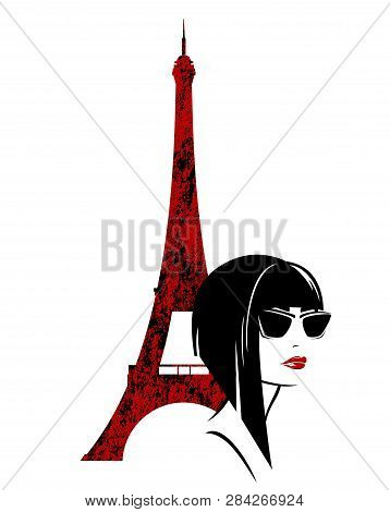 Stylish Brunette Woman With Asymmetric Blunt Bob Haircut And Sunglasses With Eiffel Tower In The Bac