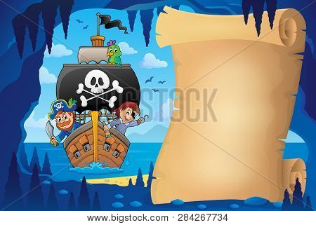 Parchment In Pirate Cave Image 8 - Eps10 Vector Picture Illustration.