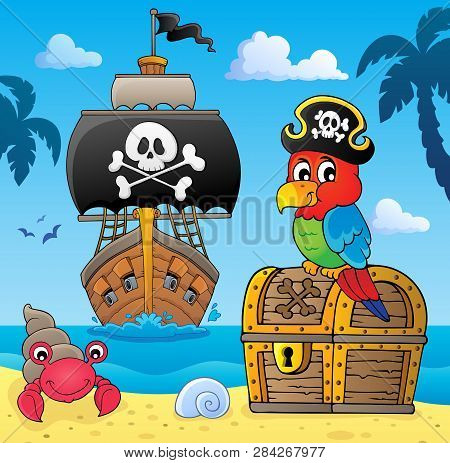Pirate Parrot On Treasure Chest Topic 4 - Eps10 Vector Picture Illustration.