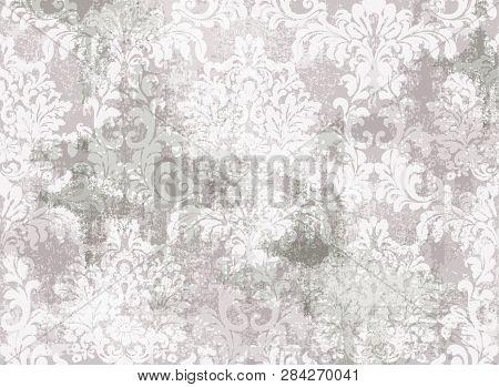 Rococo Baroque Texture Pattern Vector. Floral Ornament Decoration. Victorian Engraved Retro Design.