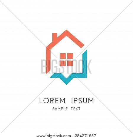 Home Address Logo - House With Window And Chimney And Place Pointer Symbol. Realty And Real Estate A