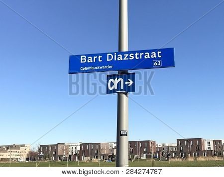 Almere Poort, Flevoland, The Netherlands - February 15, 2019:  Street Name Sign Bart Diazstraat In A