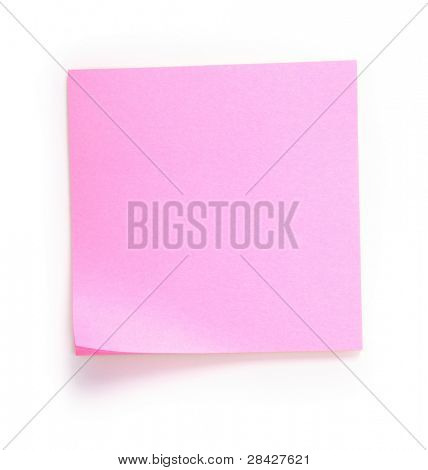Pink note over white background