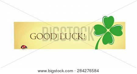 Good Luck Label With Four Leaf Clover And Ladybug Vector Illustration Eps10