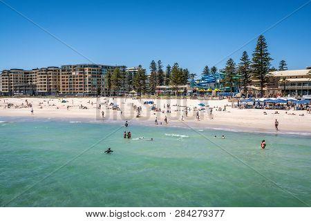 31st December 2018 , Glenelg Adelaide South Australia : View Of Glenelg Beach Full Of People In Adel