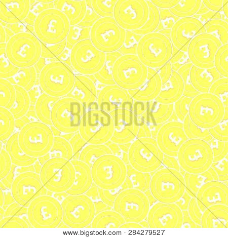 British Pound Gold Coins Seamless Pattern. Authentic Scattered Yellow Gbp Coins. Success Concept. Un