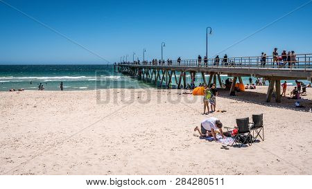 31st December 2018 , Glenelg Adelaide South Australia : Glenelg Jetty And Beach View With People On