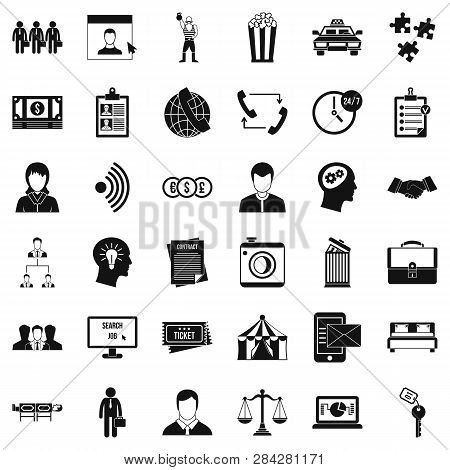 poster of Conformity icons set. Simple style of 36 conformity icons for web isolated on white background