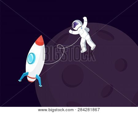 Spaceman In Spacesuit And Spaceship Near Moon Vector. Space Or Cosmos, Cosmonaut Or Astronaut In Wei