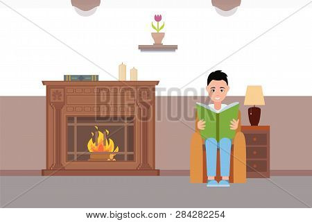 Man Reading Book Sitting By Fireplace At Home Vector, Relaxing Atmosphere Of House With Armchair, Ta