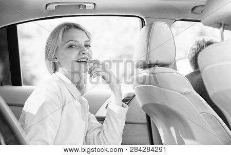 Business Life Concept. Business Woman Sit On Backseat. Busy Lady Passenger Leather Car Salon Enjoy J