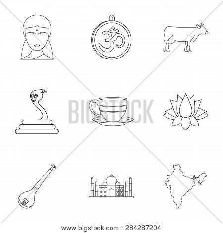 Tourism In India Icon Set. Outline Style Set Of 9 Tourism In India Icons For Web Isolated On White B