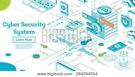 Outline Cyber Security Concept. Isometric Illustration Isolated on White. Data Protection. Cryptocurrency Farm. Mining Servers. Cryptocurrency and Blockchain Concept.