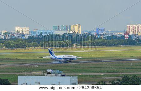 Saigon, Vietnam - Nov 20, 2018. An Ilyushin Il-76td Aircraft Of Volga-dnepr Airlines Landing At Tan