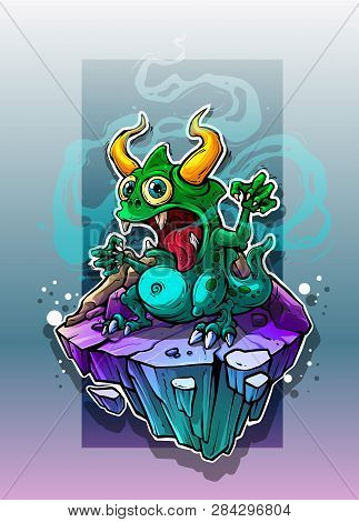 Cartoon Funny Crazy Green Stinky Monster With Horns And Canines On Underwater Stone Rock. On Blue Ba