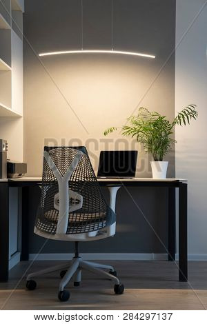 Modern laptop and office equipment on a table and shalves. Office interior - orthopaedic chair, white furniture and greenery pot on a desk with artificial lighting.