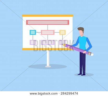 Man Holding Big Pencil And Showing Scheme On Presentation, Standing Man Near Spreadsheet. Colorful P
