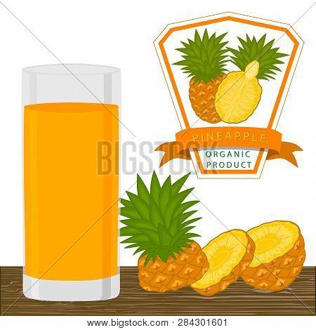 Illustration On Theme Big Set Different Types Pineapple, Green Stem, Ananas Various Size. Pineapple