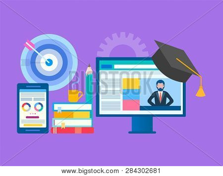 Online Seminar, Webinar, Workshop Concept. Web Education, Online Training, Professor Teaches On The