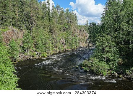 Oulanka River And The Fast-moving Rapids At The Oulanka National Park In Kuusamo, Finland. Green For